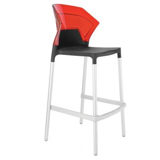 Tabouret EGO-S-BAR-09C-ALU-29 - Rouge et Noir - Base Chrome - Polypropylène - District W - St-Hyacinthe