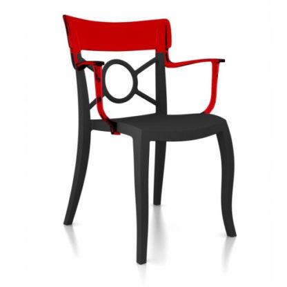 Chaise OPERA-K - Polypropylène - anthracite-mat - rouge transparent - District W - St-Hyacinthe