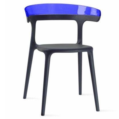 Chaise LUNA - polypropylène - anthracite - bleu transparent - District W - St-Hyacinthe
