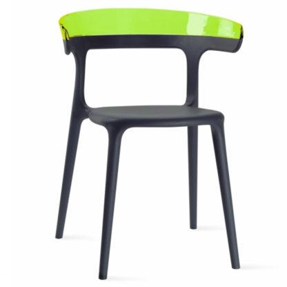 Chaise LUNA - polypropylène - anthracite - vert transparent- District W - St-Hyacinthe