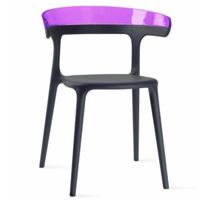 Chaise LUNA - polypropylène - anthracite - violet transparent- District W - St-Hyacinthe