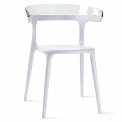Chaise LUNA - polypropylène - blanc - blanc transparent - District W - St-Hyacinthe