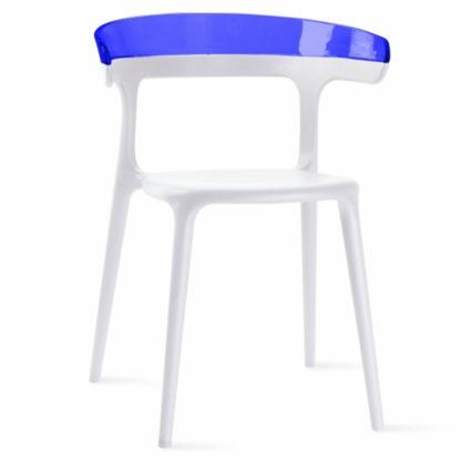 Chaise LUNA - polypropylène - blanc - bleu transparent - District W - St-Hyacinthe
