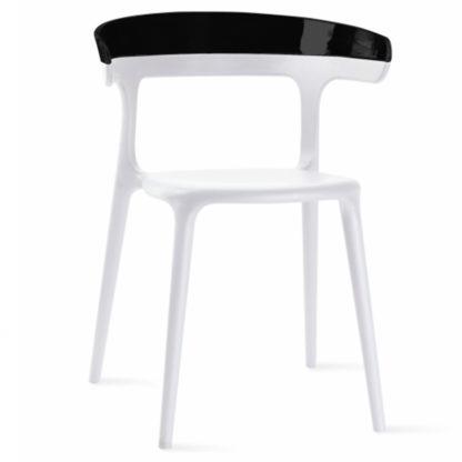 Chaise LUNA - polypropylène - blanc - noir brillant - District W - St-Hyacinthe