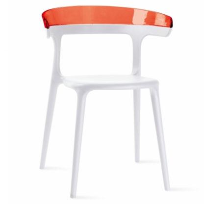 Chaise LUNA - polypropylène - blanc - rouge transparent - District W - St-Hyacinthe