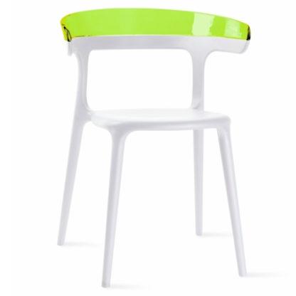 Chaise LUNA - polypropylène - blanc - vert transparent - District W - St-Hyacinthe