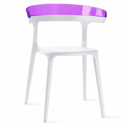 Chaise LUNA - polypropylène - blanc - violet transparent - District W - St-Hyacinthe