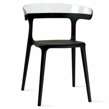 Chaise LUNA - polypropylène - noir - blanc transparent - District W - St-Hyacinthe