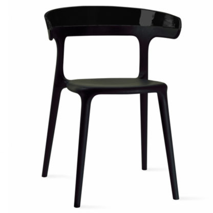 Chaise LUNA - polypropylène - noir - noir brillant - District W - St-Hyacinthe