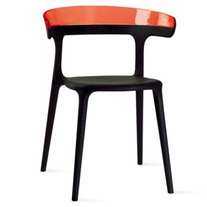 Chaise LUNA - polypropylène - noir - rouge transparent - District W - St-Hyacinthe