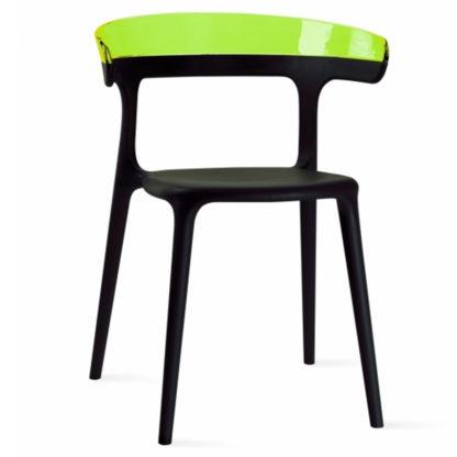 Chaise LUNA - polypropylène - noir - vert transparent - District W - St-Hyacinthe