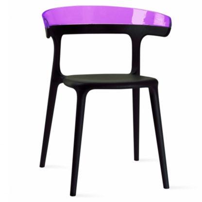 Chaise LUNA - polypropylène - noir - violet transparent - District W - St-Hyacinthe