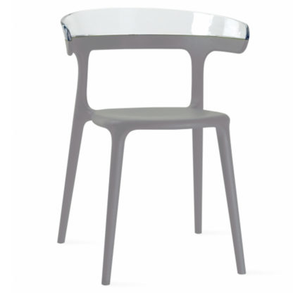 Chaise LUNA - polypropylène - taupe - blanc transparent - District W - St-Hyacinthe