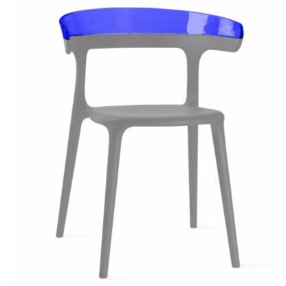 Chaise LUNA - polypropylène - taupe - bleu transparent - District W - St-Hyacinthe