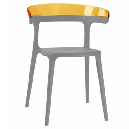 Chaise LUNA - polypropylène - taupe - orange transparent - District W - St-Hyacinthe