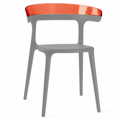 Chaise LUNA - polypropylène - taupe - rouge transparent - District W - St-Hyacinthe