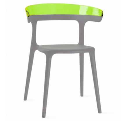 Chaise LUNA - polypropylène - taupe - vert transparent - District W - St-Hyacinthe