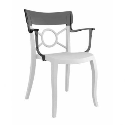 Chaise OPERA-K - Polypropylène - blanc-mat - anthracite transparent - District W - St-Hyacinthe
