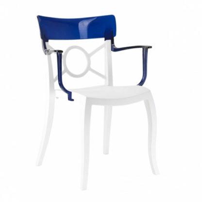 Chaise OPERA-K - Polypropylène - blanc-mat - bleu transparent - District W - St-Hyacinthe