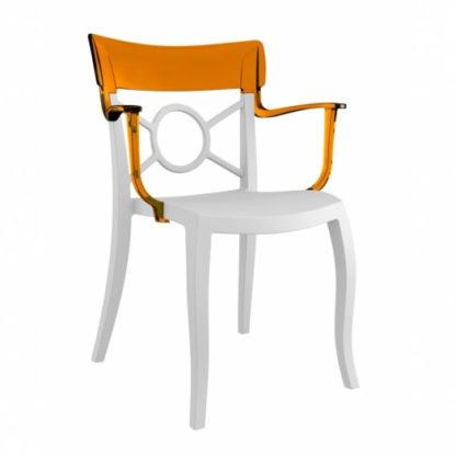 Chaise OPERA-K - Polypropylène - blanc-mat - orange transparent - District W - St-Hyacinthe