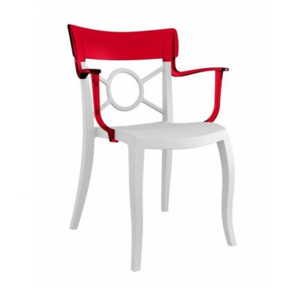Chaise OPERA-K - Polypropylène - blanc-mat - rouge transparent - District W - St-Hyacinthe