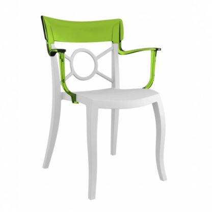Chaise OPERA-K - Polypropylène - blanc-mat - vert transparent - District W - St-Hyacinthe