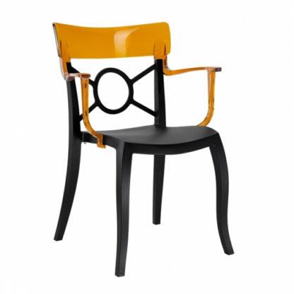 Chaise OPERA-K - Polypropylène - noir-mat - orange transparent - District W - St-Hyacinthe