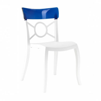 Chaise OPERA-S - Polypropylène - blanc-mat - bleu transparent - District W - St-Hyacinthe