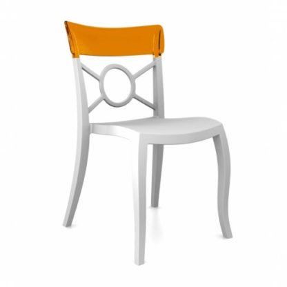 Chaise OPERA-S - Polypropylène - blanc-mat - orange transparent - District W - St-Hyacinthe