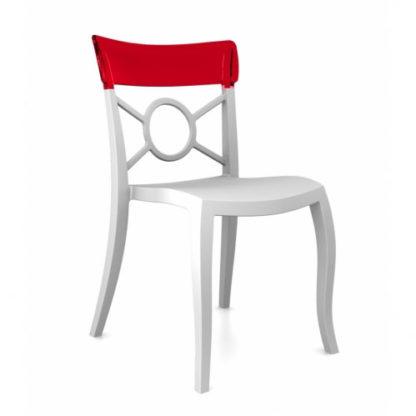Chaise OPERA-S - Polypropylène - blanc-mat - rouge transparent - District W - St-Hyacinthe
