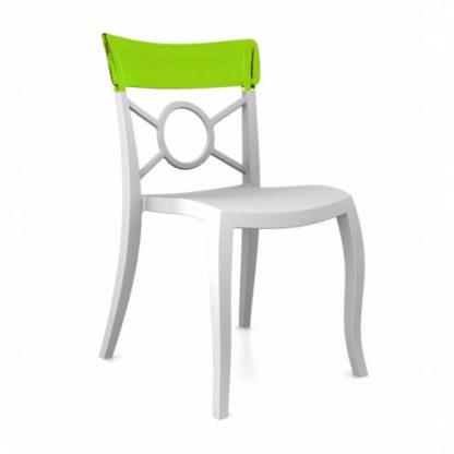 Chaise OPERA-S - Polypropylène - blanc-mat - vert transparent - District W - St-Hyacinthe