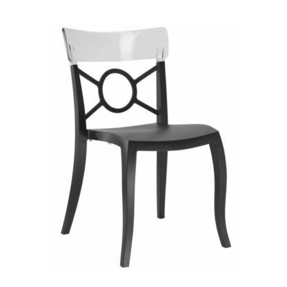 Chaise OPERA-S - Polypropylène - noir-mat - blanc transparent - District W - St-Hyacinthe