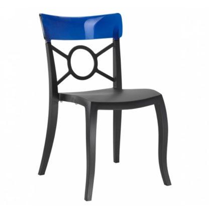 Chaise OPERA-S - Polypropylène - noir-mat - bleu transparent - District W - St-Hyacinthe