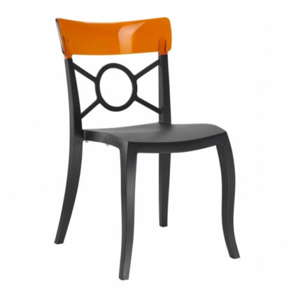 Chaise OPERA-S - Polypropylène - noir-mat - orange transparent - District W - St-Hyacinthe