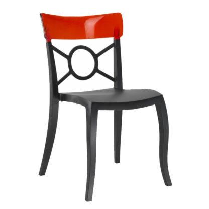 Chaise OPERA-S - Polypropylène - noir-mat - rouge transparent - District W - St-Hyacinthe