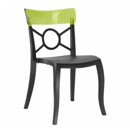 Chaise OPERA-S - Polypropylène - noir-mat - vert transparent - District W - St-Hyacinthe