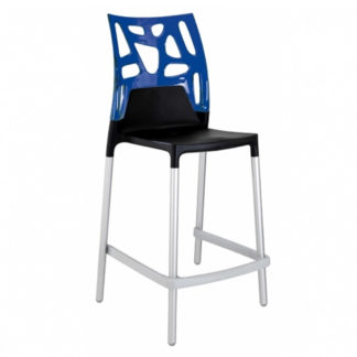 "Tabouret EGO ROCK 25.6"" - noir mat - aluminium satiné - bleu transparent - District W - St-Hyacinthe"
