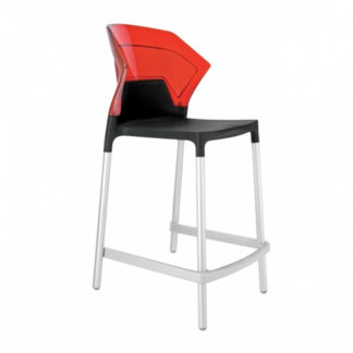 "Tabouret EGO-S 25.6"" - noir mat - aluminium satiné - rouge transparent - District W - St-Hyacinthe"