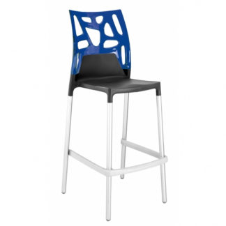 "Tabouret EGO ROCK 29"" - anthracite mat - aluminium satiné - bleu transparent - District W - St-Hyacinthe"
